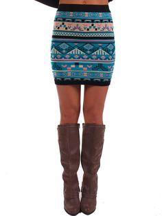 Lime Lush Boutique - Turquoise Aztec Print Skirt, $38.99 (http://www.limelush.com/turquoise-aztec-print-skirt/)
