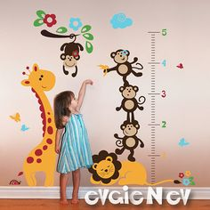 Children Wall Decal Growth Chart- Monkeys on the Branch with Giraffe and Sleeping Lion - Children Wall Decals - PLSF070. $90.00, via Etsy.