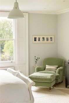 green bedroom chair and ottoman for white bedroom