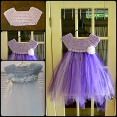 Crochet tulle baby dress with free pattern