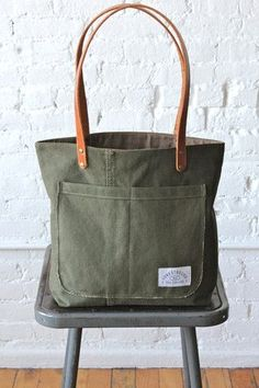 WWII era Military Canvas Pocket Tote Bag - big bags, unique purses and bags, bags online for ladies *sponsored https://www.pinterest.com/bags_bag/ https://www.pinterest.com/explore/bag/ https://www.pinterest.com/bags_bag/leather-bags-for-men/ http://www.solesociety.com/bags.html