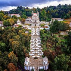 Amazing aerial view of the sanctuary, Bom Jesus do Monte, located outside of Braga. By: lifeofsabin