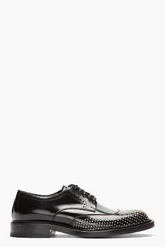 Saint Laurent Black And Silver Nail-perforated Brogues for men   SSENSE
