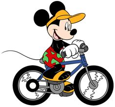 Mickey Riding His Bicycle - Summertime - Holiday Disney Character Designs in 4 sizes Embroidery - Mickey Mouse And Friends, Mickey Minnie Mouse, Disney Mickey, Mickey Party, Arte Disney, Disney Art, Mickey Mouse Design, Computerized Embroidery Machine, Disney Designs