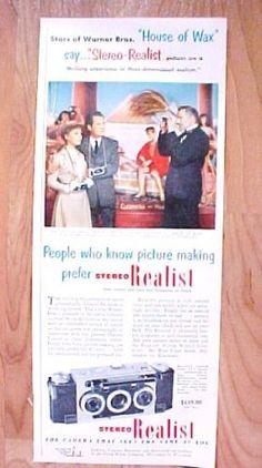 Vtg-1953-Stereo-Realist-Camera-Magazine-Print-Ad-VINCENT-PRICE-House-of-Wax