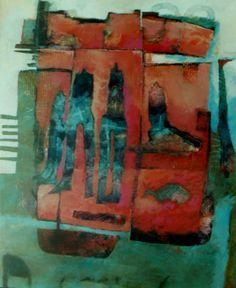title ; borders of glass. painting 100-120; Marjan Nagtegaal