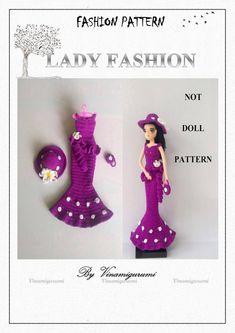 Elegant lady fashion pattern, only clothes pattern for doll, fit for Barbie, silkstone, Fr… PDF Barbie Clothes Patterns, Clothing Patterns, Half Double Crochet, Single Crochet, Crochet Dolls Free Patterns, Elegant Lady, Yarn Sizes, New Dolls, Crochet Clothes