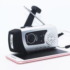 Portable Solar Crank Power FM Radio Hand Crank Dynamo 1W Super Bright Flashlight 2000mAh Emergency Phone Charger
