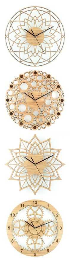Wall clocks by Beam Designs laser cut from bamboo £35