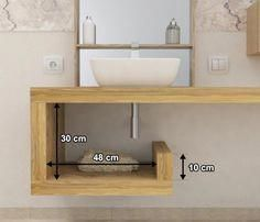 Sale on-line wash basin shelf - solid wood - customized shelf - bathroom furniture - available in 4 types of natural solid wood Wood Bathroom, Bathroom Shelves, Bathroom Storage, Modern Bathroom, Small Bathroom Furniture, Washbasin Design, Downstairs Toilet, Minimalist Bathroom, Bathroom Interior Design
