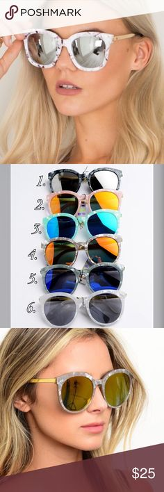 Marble Frame Mirrored Sunglasses Brand new marble frame mirrored sunglasses. Comes in 6 different colors as shown in pic 2. Pic 1 for modeling purposes only. Bchic Accessories Sunglasses