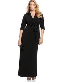 NY Collection Plus Size Dress, Faux Wrap Maxi - Plus Size Dresses - Plus Sizes - Macy's