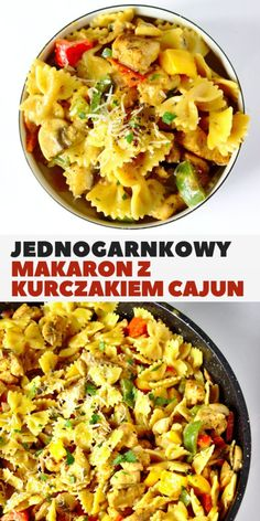 One pot pasta with cajun chicken in a creamy sauce. Very easy and quick dinner in 30 minutes! A spicy creamy sauce, chicken, pasta and vegetables all cooked in one dish only. One Pot Pasta, Creamy Sauce, Lasagna, Pasta Salad, Macaroni And Cheese, Food And Drink, Dishes, Vegetables, Cooking
