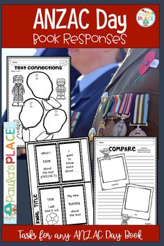 These tasks can be used with any ANZAC DAY themed book. They can be used by completing them individually or in a small group and then make presentations to the grade. Writing Strategies, Writing Resources, Teaching Activities, Teaching Writing, Text To Text Connections, Anzac Day, Book Themes, Any Book, Learning Centers