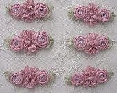 6pc Colonial Rose Pink Ribbon Rosette Spider Rose Flower w Stone Applique Dog Hair Bow