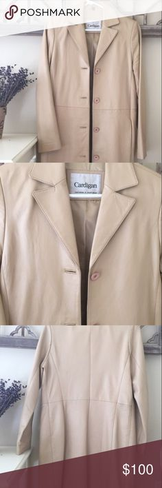 Pure leather knee length tan coat Tan/ beige colored Pure Leather 38 inches knee coat as good as new. Size 4 -6. It was bought in the UK and has been worn sparingly. Selling at a steep discount. Great for the fall and spring season and can be worn over cocktail dresses formally. Jackets & Coats Trench Coats