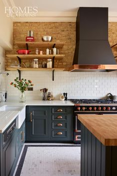 Kitchen Trends That Will Never Go Out of Style : This kitchen has an industrial country feel to it and I love the exposed brick wall with the open shelving, dark grey units and hint of copper. Home Decor Kitchen, Country Kitchen, Kitchen Furniture, Diy Kitchen, Kitchen Interior, Home Kitchens, Kitchen Ideas, Furniture Nyc, Kitchen Brick