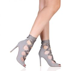 Celeste Stiletto Heels In Grey Faux Suede