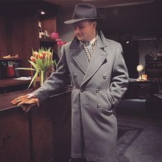 Hr. Johansson looking good in his A. Marchesan MTM shirt, late 40's/early 50's Swedish bluegrey overcoat and Akubra fedora hat.  #vintage #mensvintage #menswear #fedora #amarchesanshirts #akubra #dapper #welldressed #mensstyle #mensfashion #mensvintage