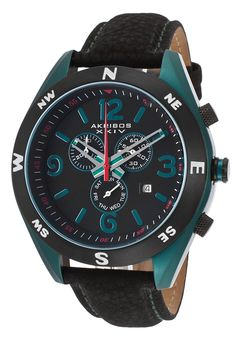 Image for Men's Conqueror Chrono Black Genuine Leather Dark Teal Case from World of Watches