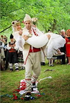 I think we'll skip most of the traditions. Traditional Wedding Attire, Traditional Dresses, Folk Costume, Costumes, Wedding Couples, Wedding Ideas, Eastern Europe, Here Comes The Bride, People Around The World