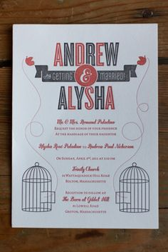 wedding invitation letterpress modern