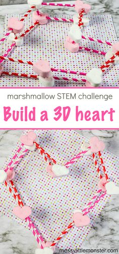 Marshmallow Structures STEM challenge - with a Valentine twist! Valentine Crafts For Kids, Valentines Day Activities, Crafts For Kids To Make, Craft Activities For Kids, Stem Activities, Kids Crafts, Easy Science Projects, Stem Projects, Googly Eye Crafts
