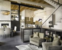 This is a loft in Chicago, created from 2 apartments, making a 4000 square foot home. I would love something like this but with soft furniture for contrast against the lines of the loft Taupe Living Room, Living Room Decor, Loft Design, House Design, Design Design, Stair Design, Wall Design, Interior Exterior, Interior Design