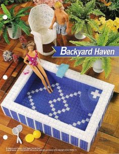 pool for our Barbies made with plastic canvas!