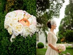 Vintage Style: A birdcage veil and a tea length lace wedding dress.