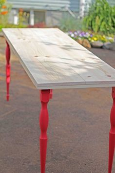 Simple Diy Dining Table With Colorful Legs | Shelterness