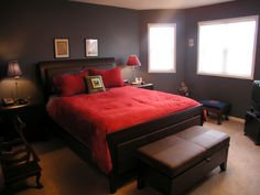 Dark Brown And Red Bedroom Decor