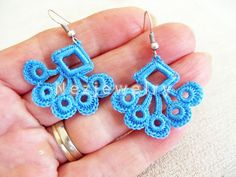 Hand Crocheted  Dangle Earrings in Blue by accessoriesbynez, $16.00