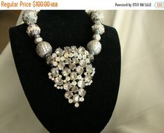 ON SALE Deco Smoky Silver and Gray Vintage Dress Clip Necklace Signed Joseph Weisner NY