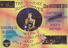 Sunday Sundowner with Out Of Town featuring Tracy Butler #jazz in #capetown