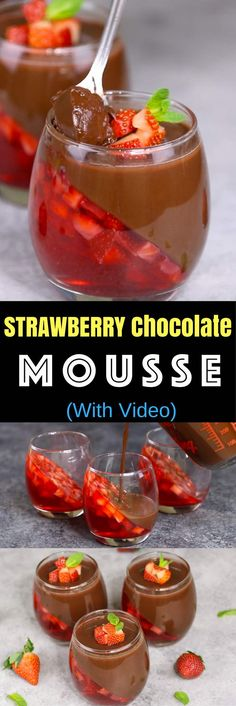 Strawberry Chocolate Mousse is a delicious make ahead dessert with two layers that you can easily prepare. All you need is a few simple ingredients: fresh strawberries, strawberry jello powder, water, cocoa, sugar, half and half milk and unflavored gelatin. Make this for Valentine\'s Day, birthdays, Mother\'s Day, holidays and date night. Make ahead recipe, no bake, video recipe. tipbuzz.com