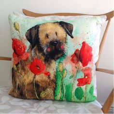 The Alex Clark Border & Poppies cushion is adorable and one of our favourites. Buy Alex Clark homewares in-store or online. Border Terrier, Little Brown, Brown Dog, Artwork Design, Red Poppies, Jute, Home Accessories, Presents, Cushions