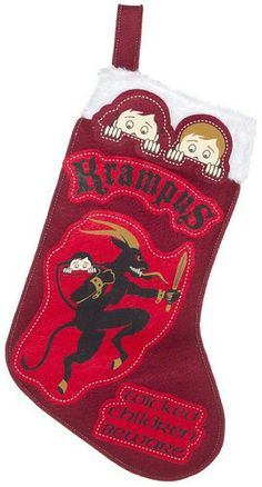 the Krampus is among us! Bring fear into the hearts of children everywhere by hanging this stocking by the fire with care. Dark Christmas, All Things Christmas, Christmas Holidays, Christmas Music Playlist, Bad Santa, Bad Kids, Winter Festival, Xmas Stockings, Very Scary