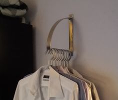 EKBY ROBERT bracket as clothes hanger is part of Hanging Clothes Ideas - Teen in a room with not much space needed to hang her dresses and shirts up So we figured out an alternative! We used a bracket as clothes hanger Diy Clothes Hangers, Hanging Clothes, Ikea Closet Organizer, Closet Organization, Closet Rod, Walk In Closet, Small Closets, Ikea Hackers, Dressing Room
