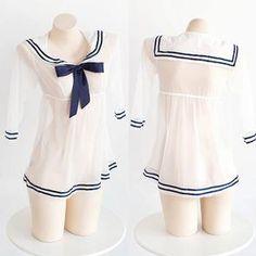 db0896afd5 Japanese Harajuku Sexy Transparent Sheer Sailor Dress Uniform Lingerie  SD01096 Japanese Harajuku