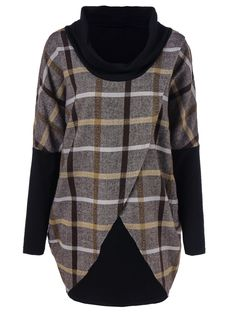 Cowl Neck Overlap T-Shirt in Checked | Sammydress.com