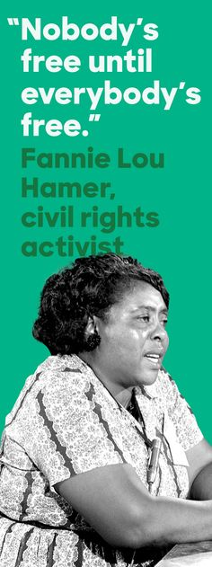 Civil rights activist Fannie Lou Hamer dedicated her life to securing universal voting rights and eliminating racial injustice in her native Mississippi and across the country. At the age of 44, she was fired from her job for registering to vote and soon became a leader in the civil rights movement. Thank you, Fannie Lou. #BlackHistoryMonth
