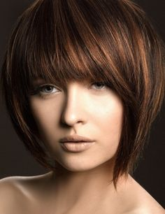 a lovely carmel highlights on dark brown hair! Cute cut to