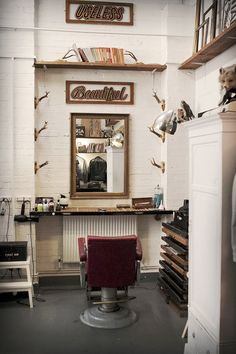 Design elements to learn from: New vanity for a vintage barber's (or beauty salon) chair. Photo only, via bloodandchampagne.com