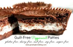 Growing Home Blog: Guilt-Free Peppermint Patties. Made with coconut oil, healthy sweetener, shredded coconut, cocoa powder and peppermint extract