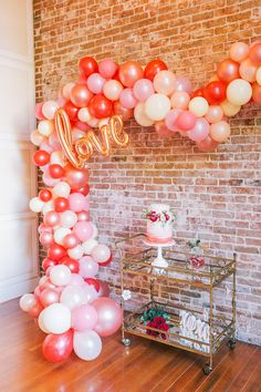 balloon arch and bar cart