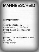 Mahnbescheid der Asteria Media SL durch Schulenberg und Schenk Rat, Math Equations, Psychics, School, Computer Mouse
