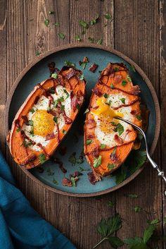 Baked Sweet Potato Breakfast Boats