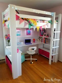 What makes bedtime homework and a tidy room more fun for a child than a fabulous DIY loft bed with desk and storage? Youll love the price function and space-saving this twin loft bed offers whether its for your son daughter tween teen or even an adult! Loft Bed Desk, Build A Loft Bed, Bunk Bed With Desk, Bedroom Loft, Dream Bedroom, Loft Room, Loft Bed Storage, Loft Bed Plans, Playroom Storage