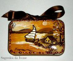 SA33-  Pintura em sabonete - motivo paisagem de mar